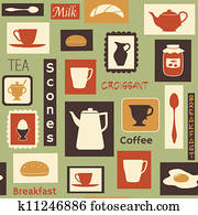Retro pattern with kitchen dishes for breakfast