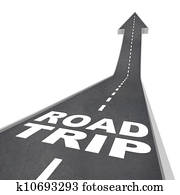 Road Trip Words on Street for Fun Adventure Vacation