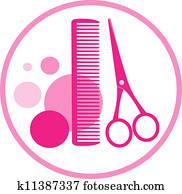 round sign of hair salon