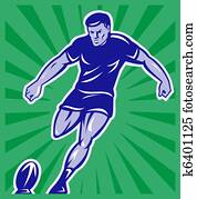 rugby player kicking ball front view