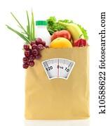 alimentation fraîche des aliments frais dans un sac en papier