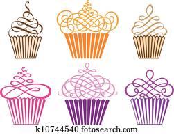 satz, von, cupcakes,, vektor