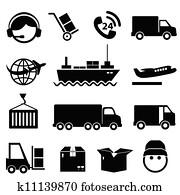 schiffahrt, und, ladung, symbol, satz