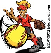 schlagball, turnier, kunst, von, a, fastpitch, kugel, geworfen, per, schnell, pech, schlagball, krug, karikatur, vektor, abbildung
