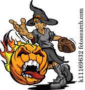 schlagball, turnier, kunst, von, a, brennender, schreien, halloweenkuerbis, geworfen, per, schnell, pech, schlagball, krug, gesicht, tragen, a, hexe, kostüm