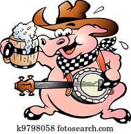 schwein, spielender, banjo