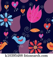 Seamless floral pattern with tulips and birds