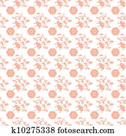 Seamless Peach & White Damask