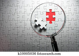 Search for missing puzzle pieces with a magnifying glass.