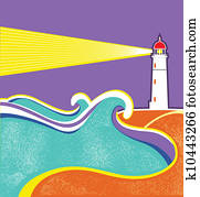 Seascape horizon. Vector illustration with lighthouse