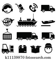 Shipping and cargo icon set