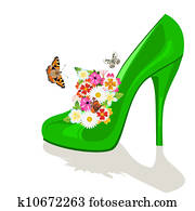 Shoes, flowers and butterflies