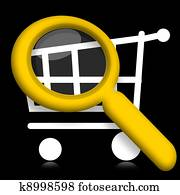 Shopping cart under magnifyier