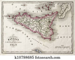 Sicily an other Islands old map