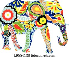 silhouette, von, ein, elefant, mit, indi