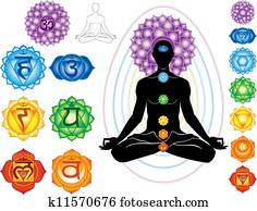 silhouette, von, mann, mit, symbole, von, chakra