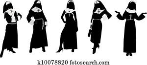 silhouetten, von, nonnen