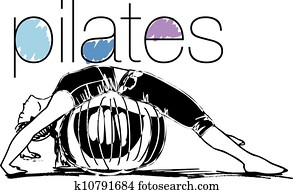 Sketch of woman doing pilates. Vector illustration