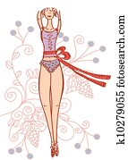Slim girl with tape measure and floral patters