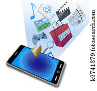 smart phone with application icons