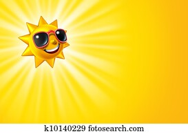 Smiling Hot Yellow Sun With Rays