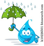 Smiling Water Drop With Umbrella