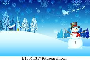 Snowman on Christmas night
