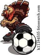 Soccer Thanksgiving Holiday Turkey Cartoon Vector Illustration