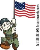 soldat, karikatur