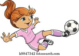 Sports Summer Soccer Girl Vector
