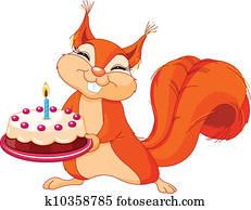 Squirrel holding cake