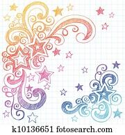 Stars Sketchy Doodle Design Element
