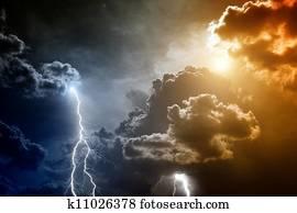 Stormy sky with lightnings