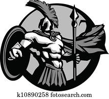 Strong Spartan or Trojan Mascot with Spear and Shield
