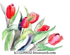 Stylized Tulips flowers illustration