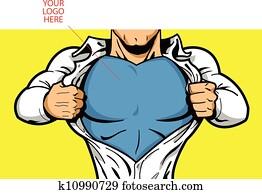 superhero, brust, für, dein, logo