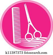 symbol of hair salon with scissors
