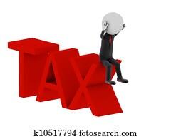 Tax. 3d illustration of human character.