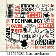 technologie, gekritzel