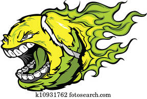 Tennis Ball Screaming Face with Flames Vector Image