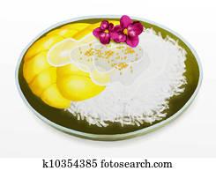 Thai Dessert, Mango with Coconut