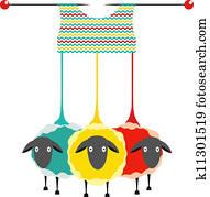Three Knitting Yarn Sheep