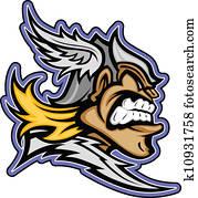 Titan Mascot with Winged Helmet Graphic Vector Illustration