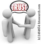 Trust Word Two People Handshake Speech Bubble