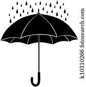 Umbrella and rain, silhouettes