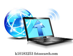 Upload to the internet cloud Icon