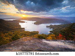 Upstate South Carolina Fall Foliage Lake Jocassee Scenic Autumn Sunset landscape photography