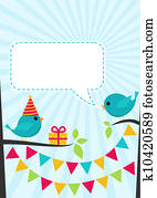 Vector birthday party card with cute birds on trees