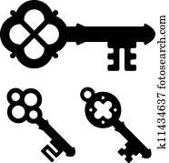 vector medieval key symbols