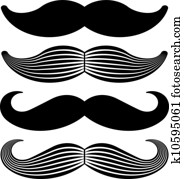 vector mustache vintage black icons